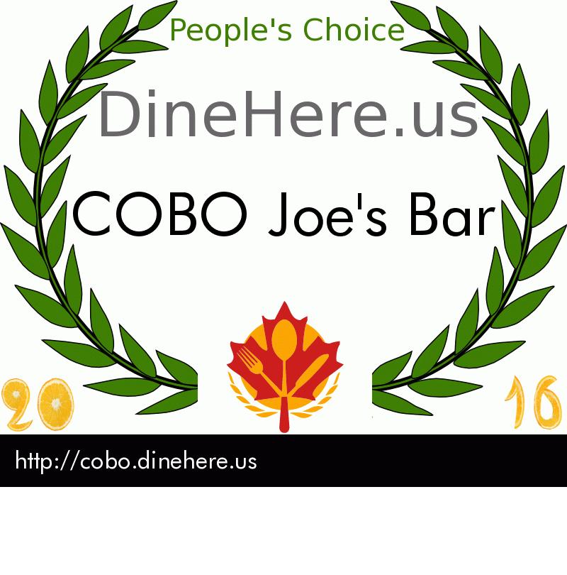 COBO Joe's Bar DineHere.us 2016 Award Winner